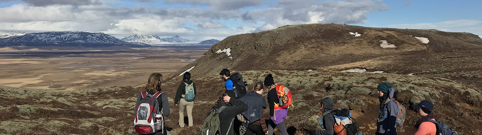 Northland College students studied abroad in Iceland. In this photo they are hiking.