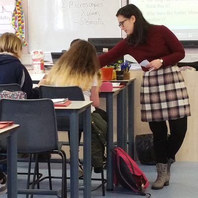 Northland College student Jane Kittaka teaching in Scotland.