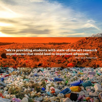 Plastic bottles with quote by Northland College Professor Nick Robertson
