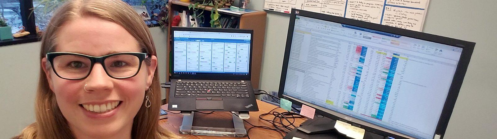 Northland College alum Roxanne Johnson at work at Blue Green Alliance
