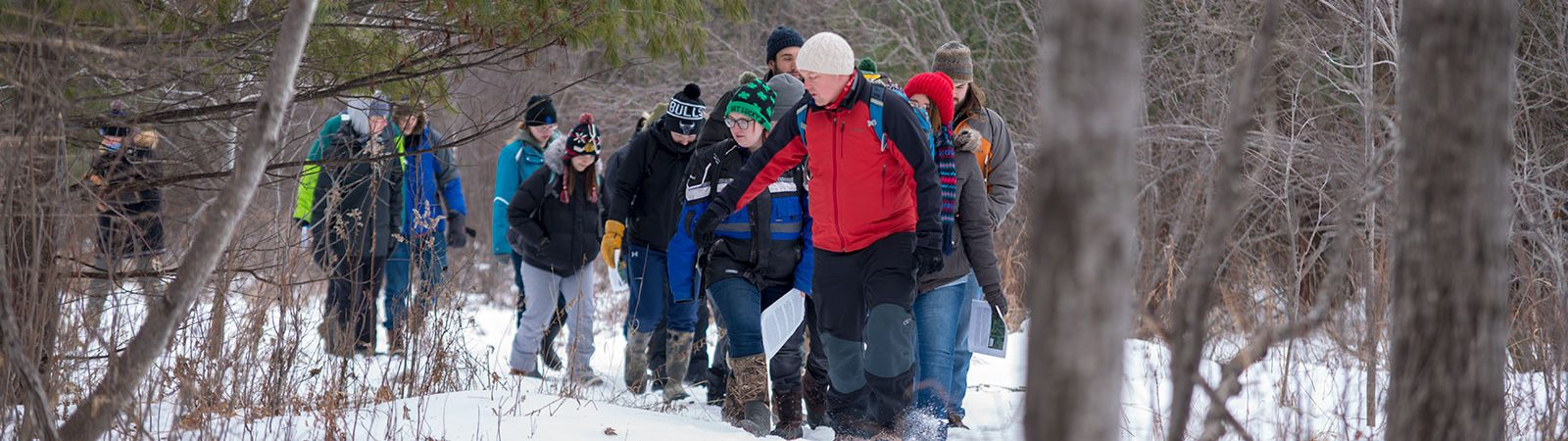 Northland College Professor Erik Olson leads wildlife ecology students on hike through Maxwell Nature Area, south of campus.
