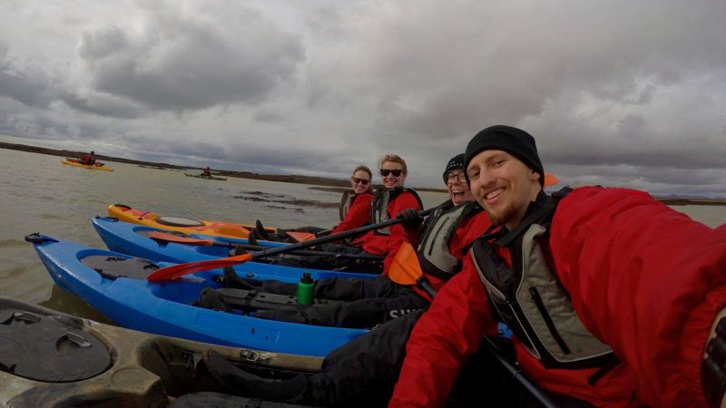 Northland College students in kayaks in Iceland