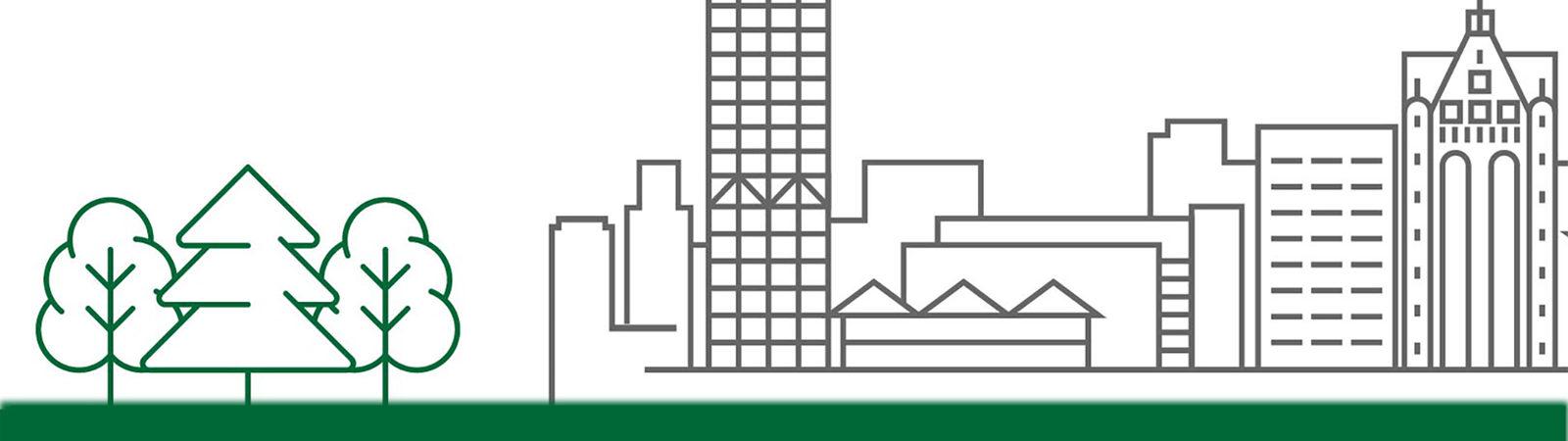 Milwaukee Schlitz Center skyline graphic