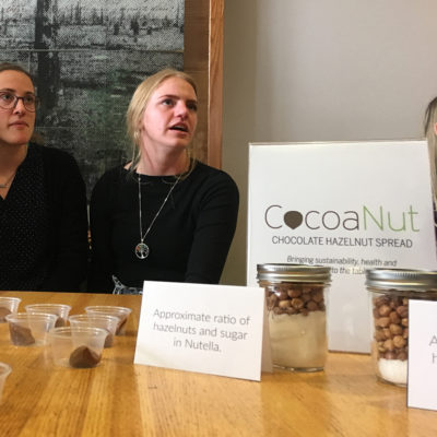 Northland College students display chocolate hazelnut spread.