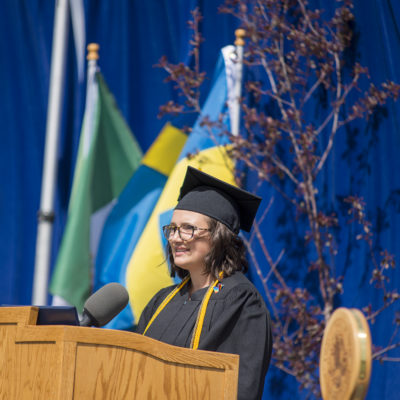 Graduate Jenise Swartley gives commencement address.