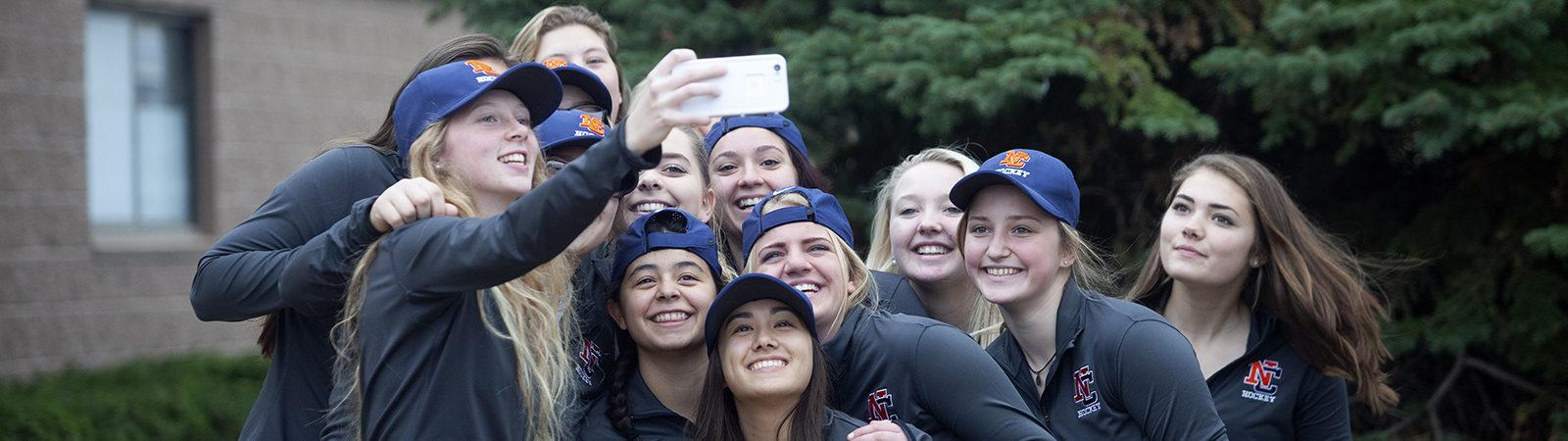 Northland College Women's Hockey Tam Group Selfie