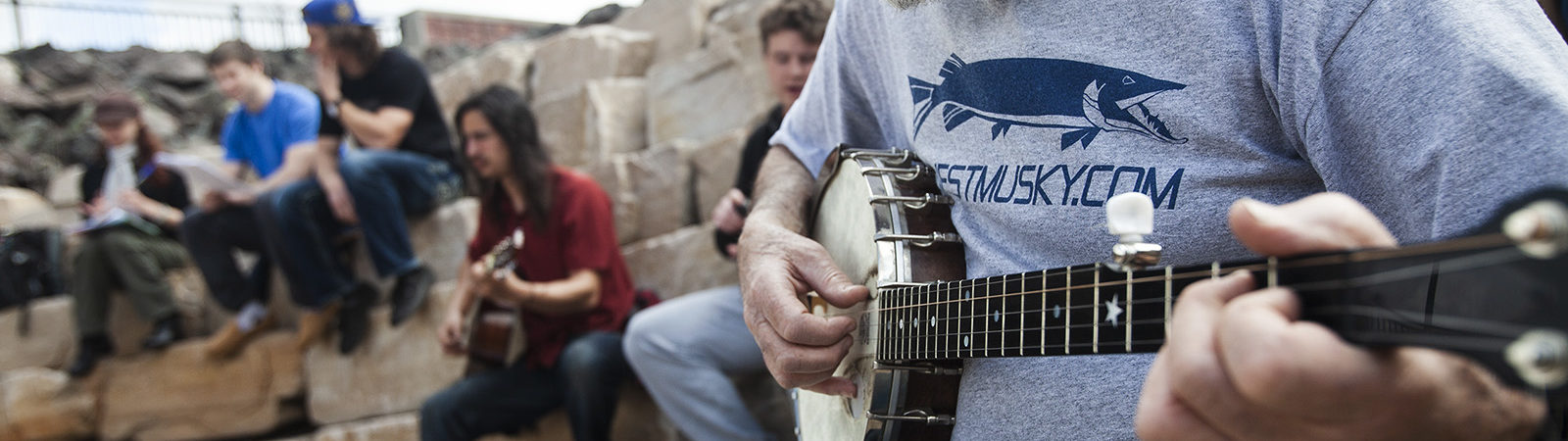 Joel Glickman strums his banjo