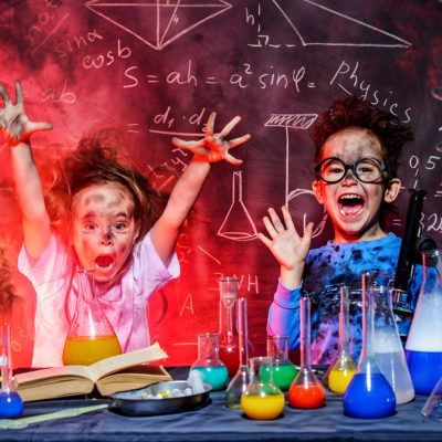 two kids in chemistry lab