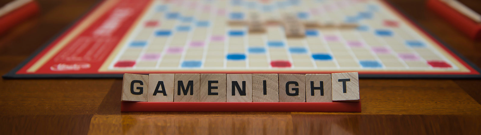 Scrabble tiles spelling out Game Night