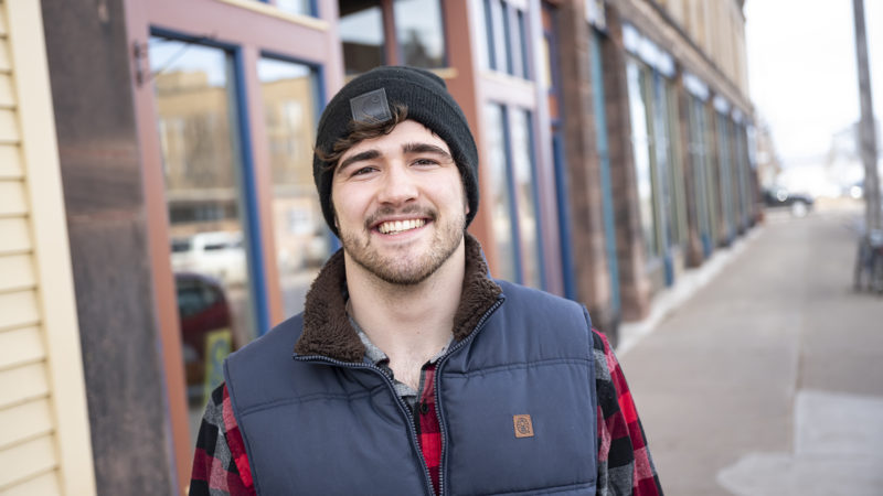 Northland College student Jimmy Moore in downtown Ashland.