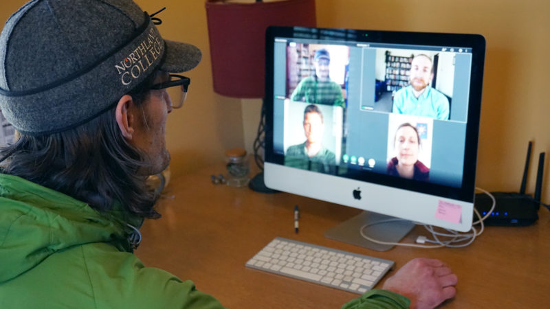 Northland College Professor Dave Ullman video chats with colleagues.