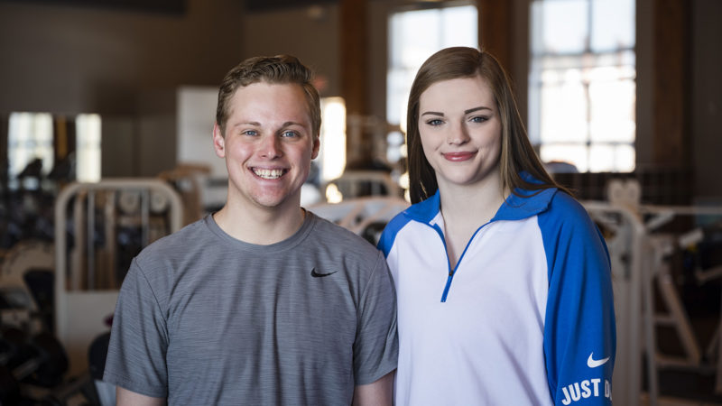 Northland College students Aaron and Sarah Houle stand in the Fitness Center