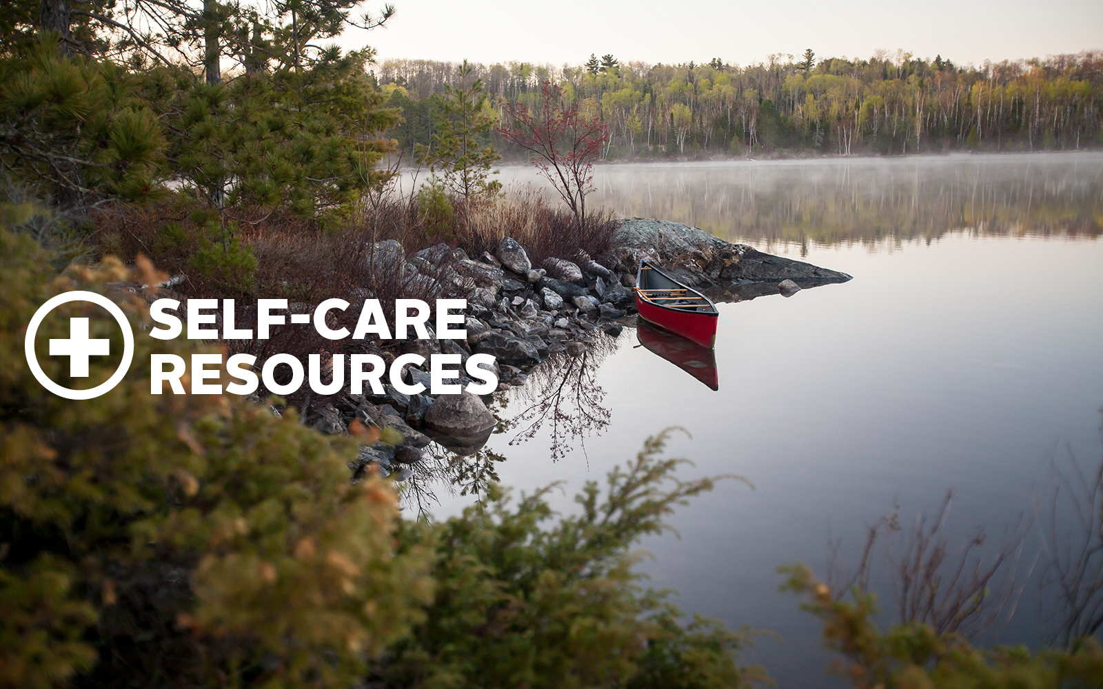 Canoe in water - Resources for Self-Care