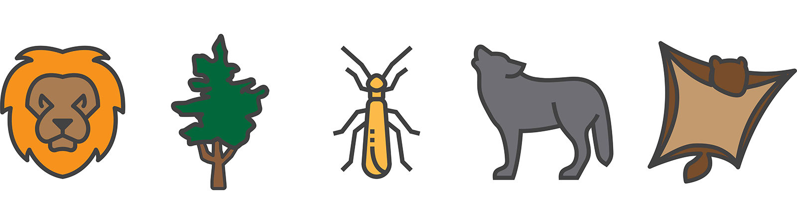 Wildlife icons to illustrate wildlife reearch.