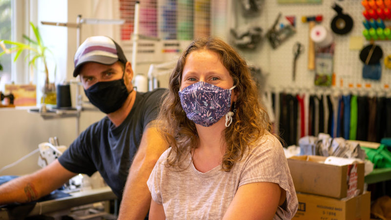 AdventureUs Owners and Northland College Alumni Amy and Jared Trimbo at their shop.