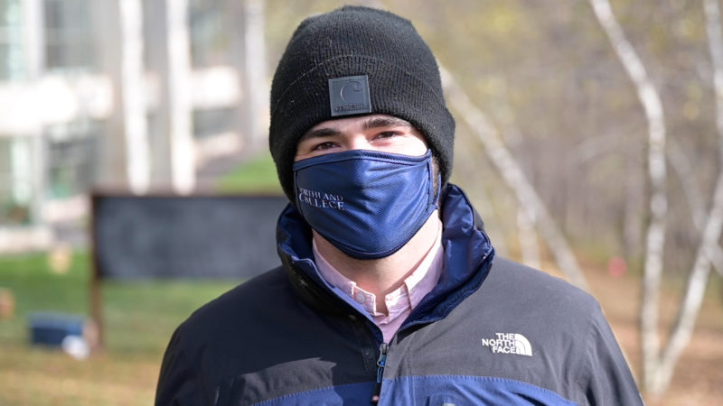 Northland College student wearing a mask