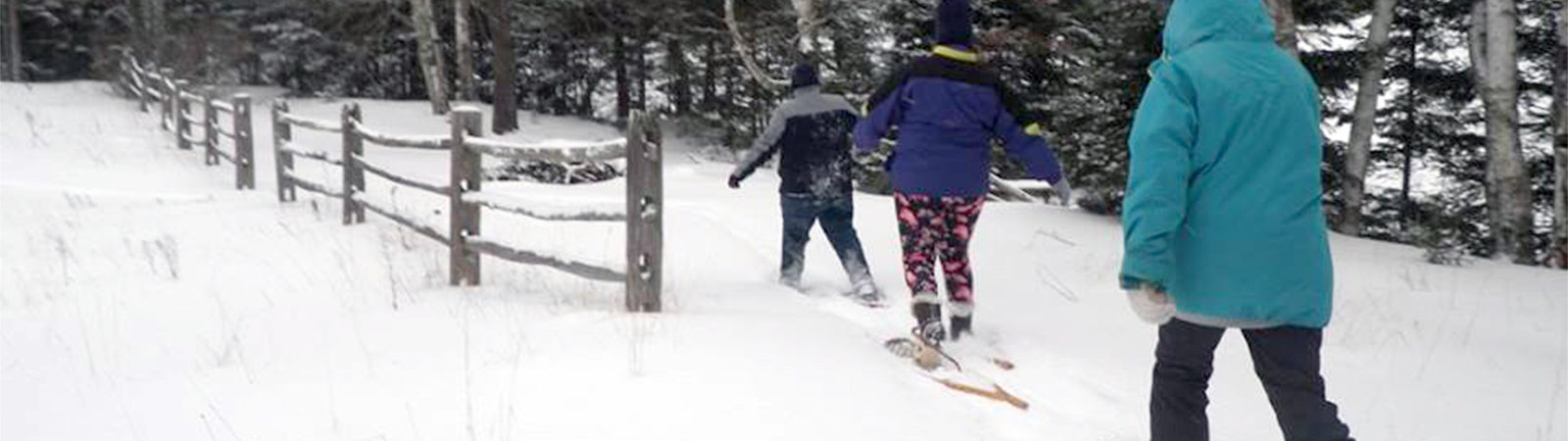 Northland College students snowshoeing
