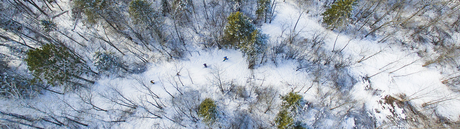 Aerial view of winter ski trails on Northland College campus.